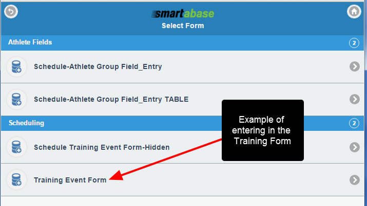 The Scheduling forms appear when entering in Scheduling data, and vice versa if Appointments were selected. Select the required Scheduling Form
