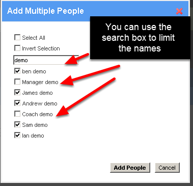 Then select the users you want to add by ensuring a tick is beside their name and unticking those that you do not want in your group