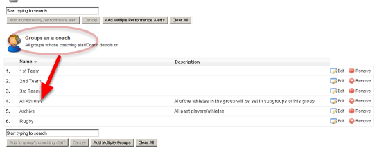 The Demo Coach Information shows he is a coach of the All Athletes group