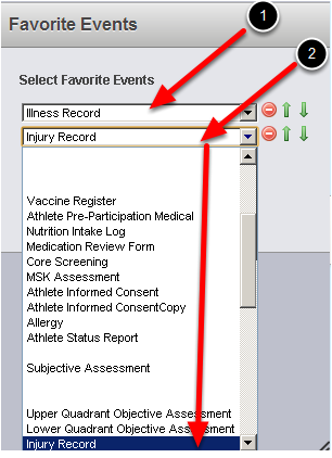 """Once you select Add, the Event drop down box will appear for you to select the Events you want to add. You can add in additional events by clicking the """"Add"""" button again."""