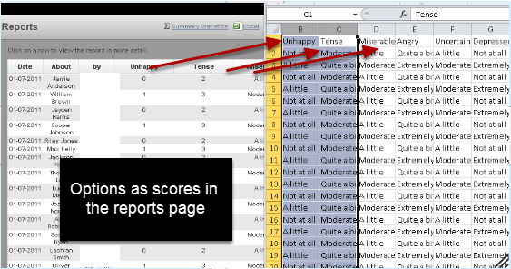 c When you run a report including these fields, the results will appear as numbers (not options). However, the numbers will not export out if you do an Excel export in the reports page. Only the original options will be exported