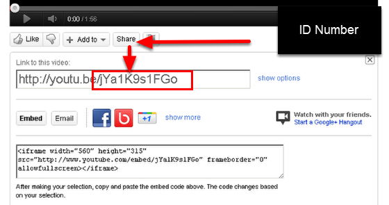"""When you view a Youtube video you can select to """"Share"""" the video which opens a link and shows the ID Number."""