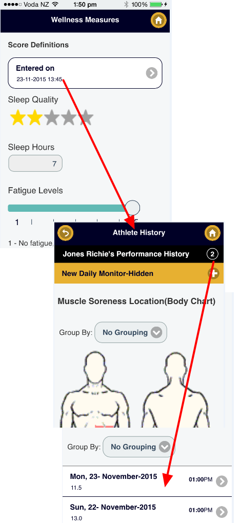 The athlete enters in their daily monitoring information. This data appears on their Athlete History Page.