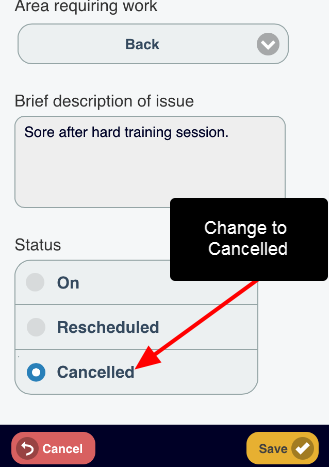 """Change the status of the appointment from """"On"""" to """"Rescheduled"""" or """"Cancelled"""". For """"Rescheduled"""", you will need to reschedule in an additional appointment"""""""