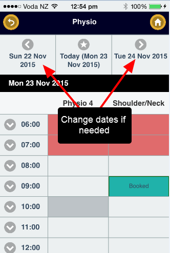 The previously selected Related Entity options appear to book in an Appointment. Change the dates if needed to select the required day.