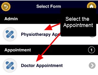 If the athlete has access to more than one Appointment Form they need to select which one they want to enter
