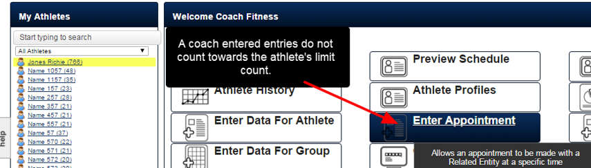 A Coach can enter as many entries as they require for an athlete, and the coach entries do not count towards the athlete limit