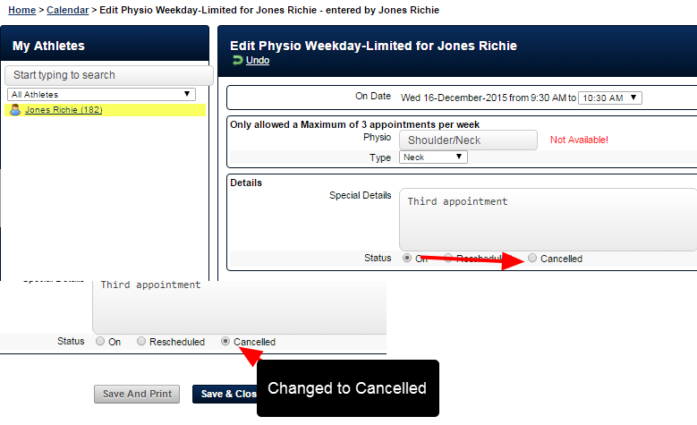 Opened and cancelled by the athlete (N.B. if a coach cancels it, the same count changes are applied).
