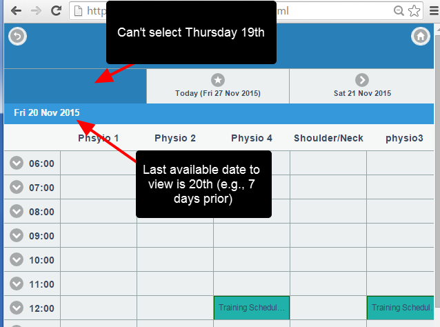 With a 7 day backward limit, users cannot select a date beyond 7 days back from today's date