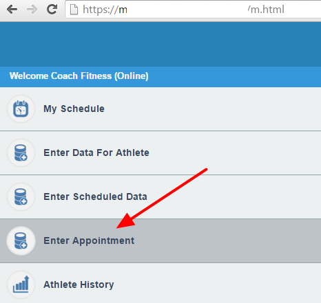 For example, click on the Appointments Module