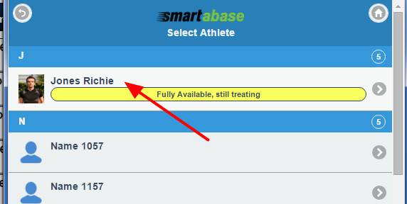 The user selects the athlete to enter data for