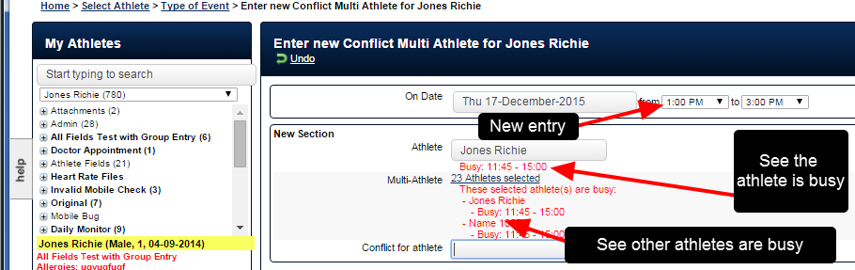 Another entry is then made for the same athlete during the time when the other event was booked using a different form that is also set to detect conflicts
