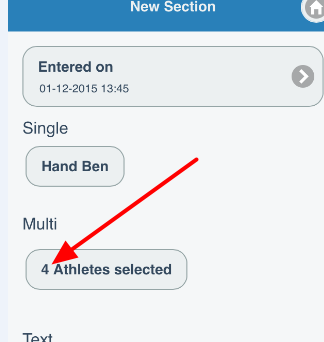 The Multiple athlete field will display that 4 athletes have been selected.