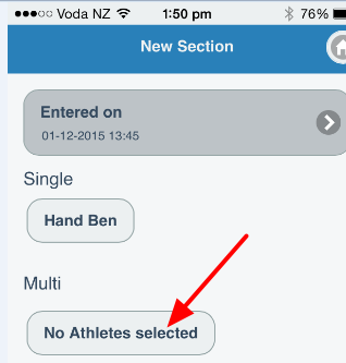 """For the Multiple Athlete selector, click on """"No Athletes Selected"""""""