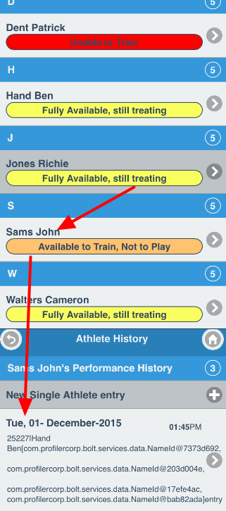 An example using one of the multiple selection athletes
