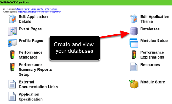 "Databases (a database can be used in an Event or Profile Form through a ""Database"" field)"