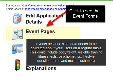 Click on Event Forms to access all of the Event Forms that are on your system