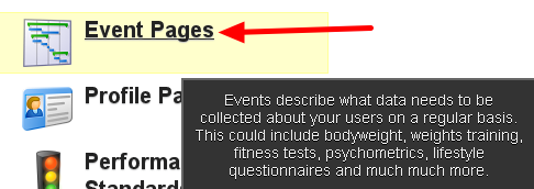 """To access you existing Event Forms or to build a new Event Form, click on """"Event Pages"""""""