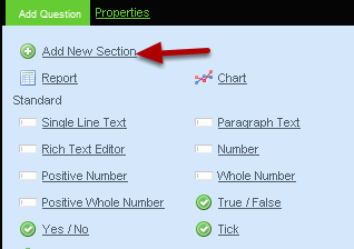 "To Add a new Section click on ""Add New Section"""
