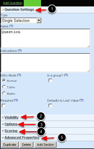 Once you click on a field type to add (this example shows a single selection field has been chosen) you have access to different Question Settings and Properties that allow you to specify the exact nature of that field and how you want it to function in the data capture form.