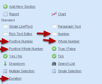 The number fields that are available include numbers, whole numbers and positive whole numbers etc.