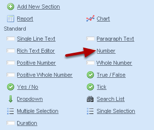 """To Add in a Numeric Field into your event form, click on the type of number that you require. The example here is going to use a """"Number"""""""