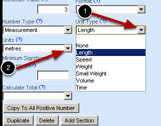 How to add a unit Type and Units to a field-e.g. weight in kg's or height in metres