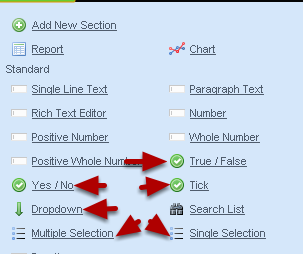 The Different Option/Selection Fields that are available: