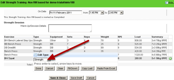 Now in the actual application enter data for that form and check that when you choose a record from the database that the Type and Equipment fields are populated (e.g. when Exercise is selected, the Type and Equipment Field are automatically filled) and that the data flows correctly.