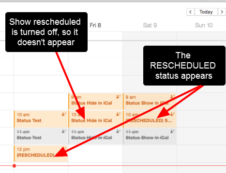 The Entries appear and the Rescheduled status is shown in the header of the entries that have this property enabled