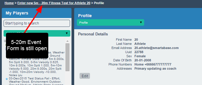 They could click on the Profile link and load the Profile module and forms, but the original event form stayed open