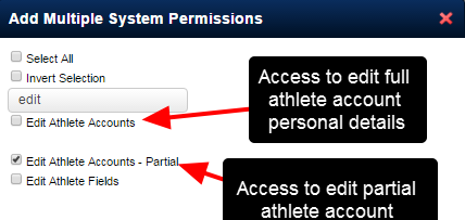 "The New ""Edit Athlete Accounts - Partial"" system permission provides users with a smaller set of account details for editing via the Profile Page Edit Functionality"