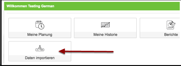 To import in the csv file, click on Daten importieren