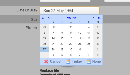 Date of Birth can be typed directly into the date box using the MM-DD-YYY format (05-27-1984)