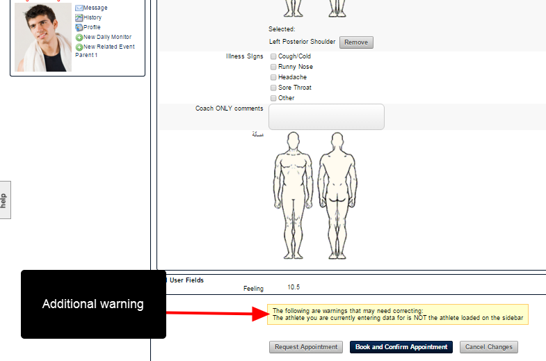 A warning notification ALSO appears above the save and close buttons at the bottom of the form