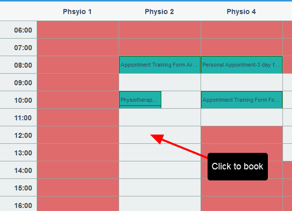 The booking calendar appears in 60 minute periods (as previously set for this form)