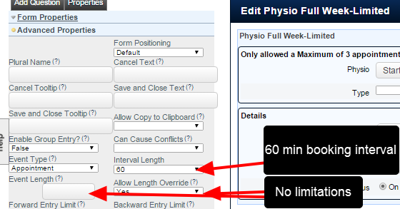 In this example, the period is set to 60 minutes, with no Override or Event Length limitations