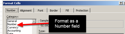 Now look at the format of the cells. Duration Formats are not Numbers, but in the original data that is exported from the Excel file, format the fields as Numbers. You