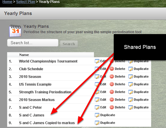 If Publically available is Ticked, the shared Yearly Plan will appear on other professionals/coaches Yearly Plan List. The example here shows the two shared and publically available plans