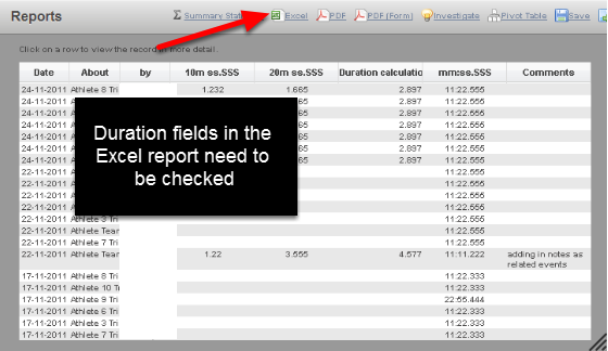On the reports pages and the athlete history pages, the Duration fields, Duration Calculation fields and Table Duration Calculation fields are displayed in the format set in the Form Builder. This example shows the 10m and 20m split times, the duration calculation and another duration field set to mm:ss.SSS