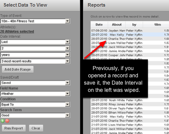2.0 Report Date filters are now retained when you open an Event from a Report and Save that Event