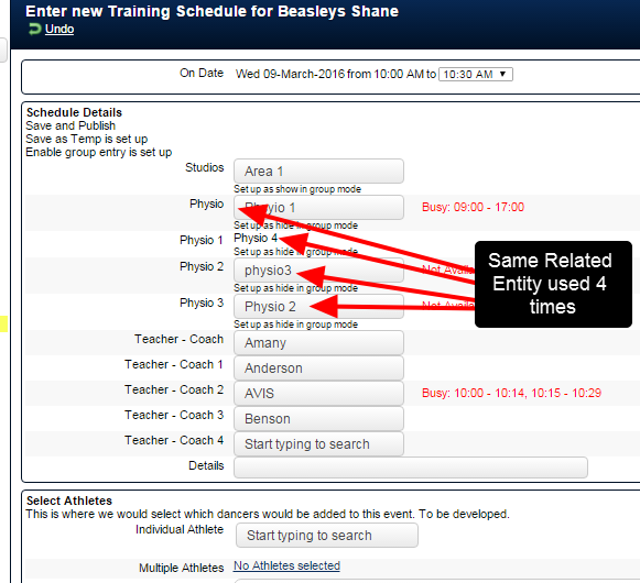 For example, this form uses the Physio Related Entity, BUT it uses it 4 times, and has to name it 4 different names.