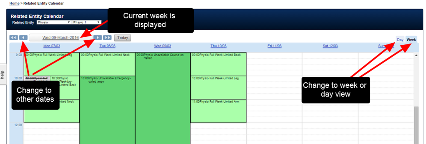 The physio can view their schedule in week view, or day view and can navigate to alternate weeks/days