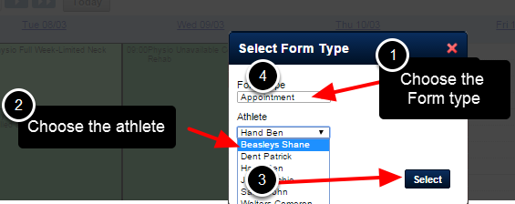 Choose the type of entry that you want to enter (Appointment or Schedule Form), and then select the athlete's name it needs to be stored under