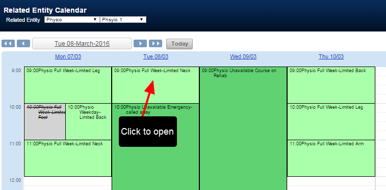Each booking displayed on the calendar can be opened, viewed and edited (if the user has read/write access).
