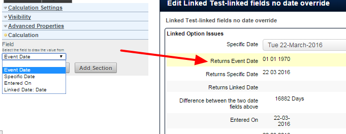 In the example here, the calculation is set to return the Event Date (this is date the entry is entered for into the system, and this date field does not need to be added as a separate date field into the form)