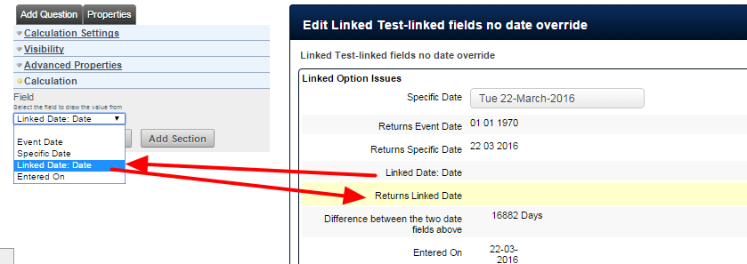 The date calculation field can return other date fields; either captured in the form or pulled through from other forms.
