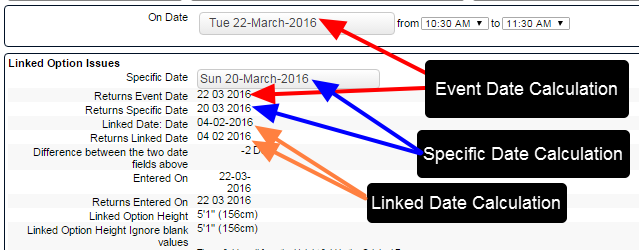 On the system, when the date fields are entered into the form, the date calculation returns the correct dates (as shown here)
