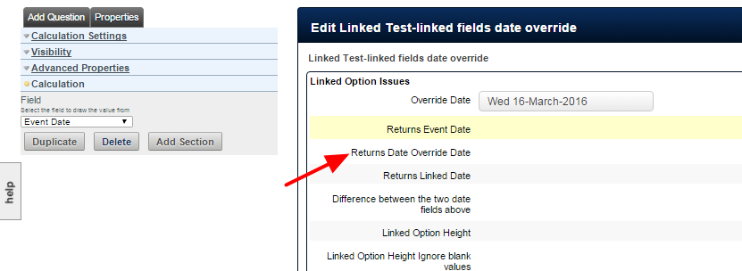 """Note that if the form is set up with a Date Override field, the calculation will return the Date Override date as the """"Event Date"""""""