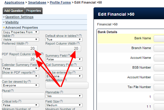 Field width can now be set. This applies to the history columns and pdf columns